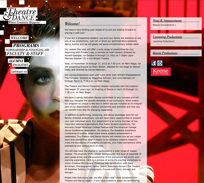Theatre & Dance Dept. Website