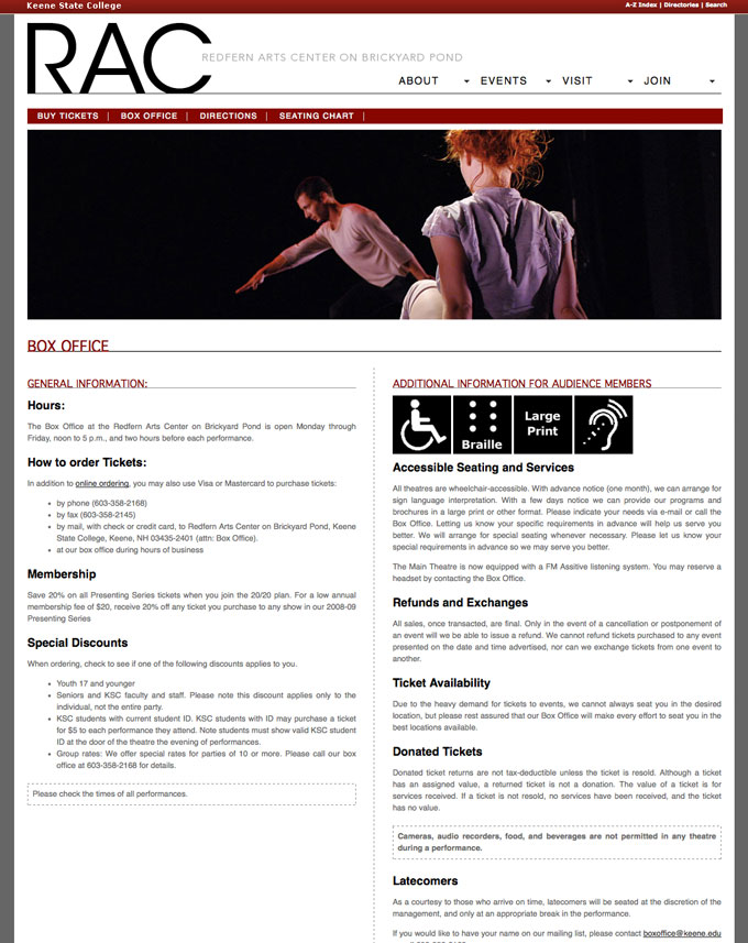 Web Design: Redfern Arts Center on Brickyard Pond